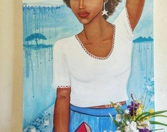 "24×36"" original modern african american portrait painting on canvas"