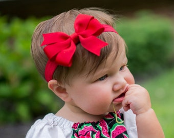 Red Bow Headband, Red Headband, Red Hair Bow, Solid Bow Headband, Christmas Headband, Baby Girl Headband, Newborn Photo Prop, Red Accesories