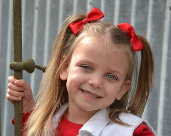 Red Hair Bows, Red Bows, Solid Hair Bows, Pigtail Bows, Toddler Bows, Red Bow Hair Clips, Pigtail Hair Bows, Solid Red Bows, Solid Hair Bows
