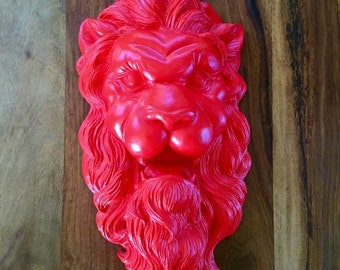 Vintage Red Lion Head Wall Hanging