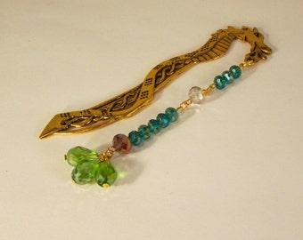 Emerald Golden Dragon Beaded Bookmark (JB173)