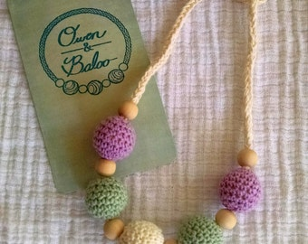 Crochet Bead Teething Necklace - Nursing Necklace - Wooden Teether - Sensory Necklace - Chew Beads - Purple, Green, and Ivory