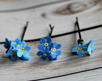 Forget me not, hair pin, hair accessories, wedding hair pin, forget me not hair pin, flower bobby pin, Something Blue, Set of 3, 6 or 9