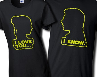 """Couples """"I Love You...""""  and """"I Know."""" - Mens and Womens Black T shirts"""
