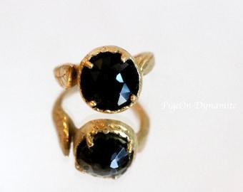 "Leaf & Rose Cut Black Onyx ""Noir"" Ring-Ready to Ship in size 5, Black Onyx Ring/Simple Onyx Ring/Statement Onyx Ring in Brass"