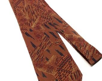 Vintage Errenno Necktie Geometric Print Orange Black Silk Tie Made in Italy