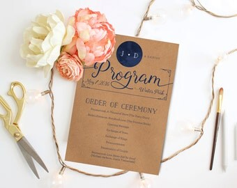 Rustic Kraft Wedding Programs - Printable or Printed - Barn Country Wedding Programs - Navy Programs
