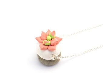 Succulent in Peach Sherbet: handcrafted polymer clay jewelry