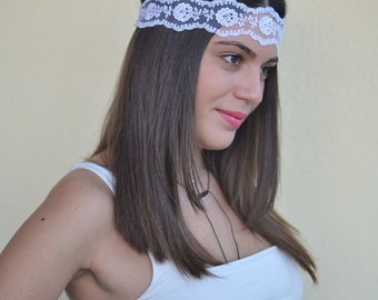 white headband,  boho headband, lace  bohemian headband, women headband, vintage headband, lace headwrap,  baby head wraps, girl birthday