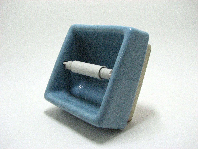 Vintage Sky Blue Ceramic Toilet Paper Holder Bathroom By