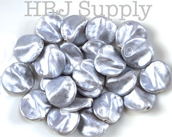 Grey Pearlized Vintage Lucite Leaf Coin beads Jewelry Making Beads Spacer Lot Size: 10 beads