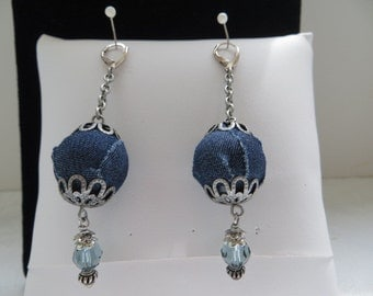 Navy Blue Denim Bead Capped Bead With Indian Sapphire Crystals, Chain And Silver Bead Caps Bohemian Dangling Earrings