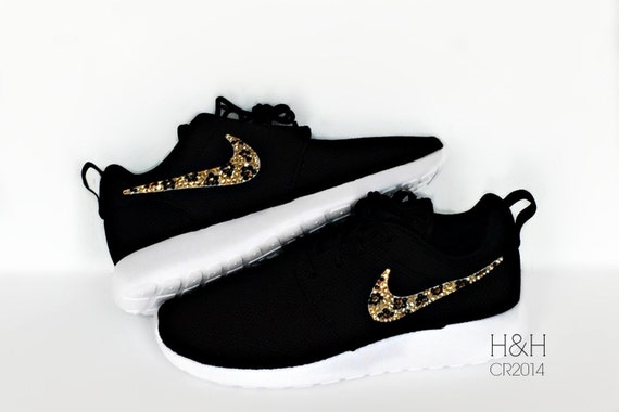 Black Nike Shoes With Cheetah Swoosh  b3fa587ec