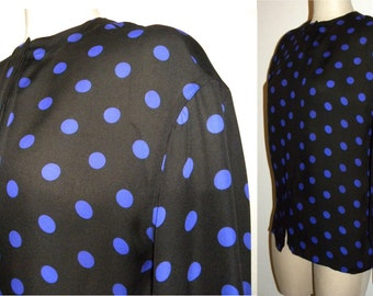 1990s POLKA DOT Blouse / Semi Sheer SILK / Linda Allard Ellen Tracy / Purple &  black / Chic / Luxe / Vintage size 6