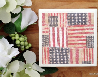American Flag Coasters - Coasters - Tile Coasters - Patriotic Coasters - Flag Coasters - Ceramic Coasters - Table Coasters - Coaster Set