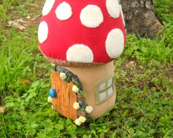 Toadstool doorstop - fairy door & window - made to order - with realistic birch door - large size doorstop or colorful room accent