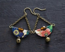 Bohemian Vintage Tin Half Circle Earrings with Antique Brass Bell Charms, Half Circle Jewelry, Cherry Blossom Earrings, Mismatched Earrings
