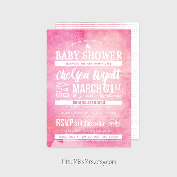 Baby Shower invitation - pink ombre watercolor - printable