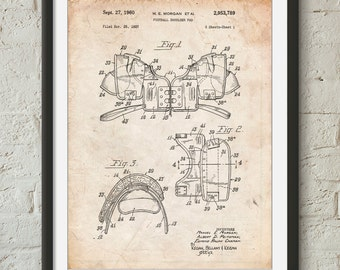 Vintage Football Shoulder Pads Patent Poster, Football Wall Art, Football Coach Gift, Sports Poster, Football Player, Teen Boy Git,  PP0504
