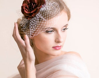 SAMPLE SALE - Bridal Fascinator with Red Rose - Bridal Birdcage Fascinator - Bridal Rose Fascinator - Bridal Hair Accessories