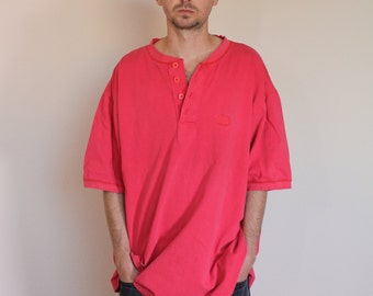 90s Faded Henley Oversized Shirt Mens Large
