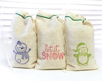 Let It Snow Holiday bags cotton favor bag 15 with stamp gift sack christmas party goodies treat bag
