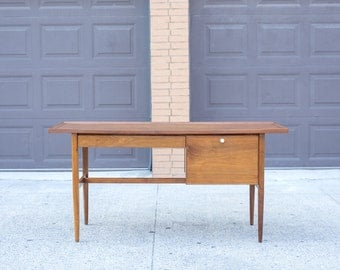 Mid Century Walnut Desk by Kipp Stewart for Drexel Declaration