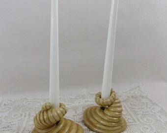 Vintage Ceramic Abstract Seashell Candleholders Set of 2 Beach Decor