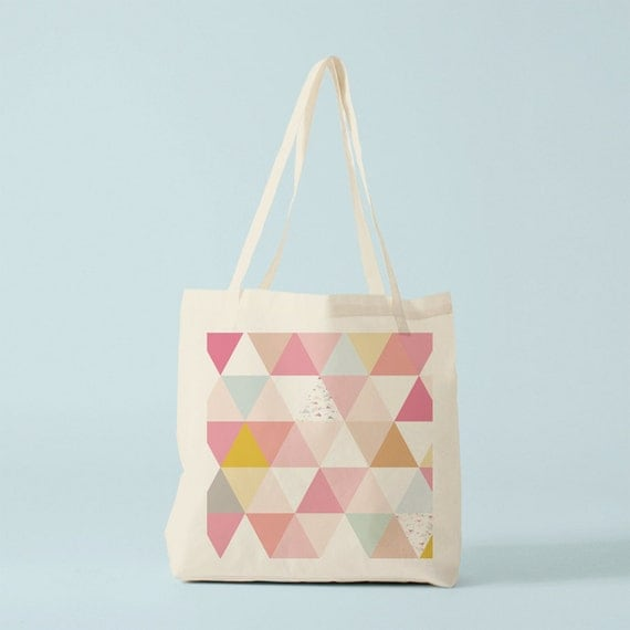 Tote bag Great Pink Triangles. Canvas bag, groceries bag, school bag, novelty gift, gift for coworker, gift for woman, graphic bag.