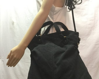 Large Canvas Cross Body Bag, Shoulder Bag, Black Canvas ,Purse,bag