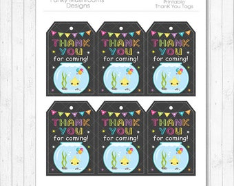 Fish Thank You Tags, Fish thank you note, Fish thank you card, Fish  birthday, Fish party, gift card, printable, INSTANT DOWNLOAD