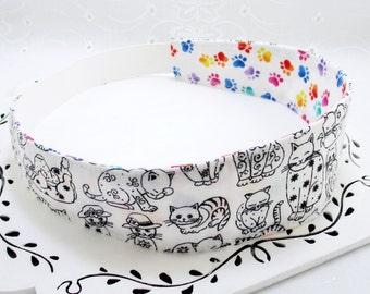Cat Headband, Black White Headband, Womans Headband, Adult Cotton Reversible Headband, Vet Tech Gift, Cat Lover Gift Under 15