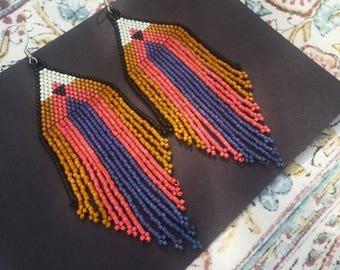 Sundown..Beaded Fringe Earrings