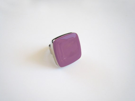 Lilac resin ring, violet glass ring, amethyst ring, purple lavender, big chunky square ring, modern minimalist, stainless steel ring