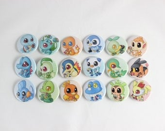 "Pokemon Starters 1.5"" Buttons"