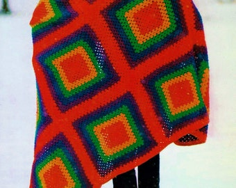 Rainbow Granny Squares Afghan Vintage Crochet Pattern Download