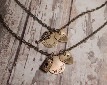 Personalized Forever and Always Necklace Set With Lock and Key Charms - Initials Couple Necklace Set - Friendship Necklaces