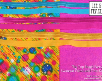 Big Top Beach Party: Swimsuit Fabric & Fold Over Elastic Trim Kit for 18 inch dolls, with FREE Priority Shipping in the US