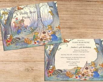 Cute Vintage Teddy Bear Picnic Kids Birthday Party Invites Children's Printable Personalized PDF / JPEG Digital Image Invitations Template