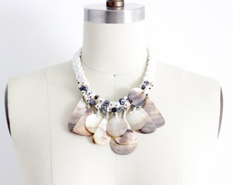 statement necklace / bib necklace / shell necklace / large shell necklace