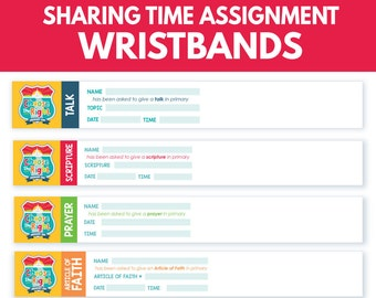 2017 LDS Primary Sharing Time Assignment Wristbands