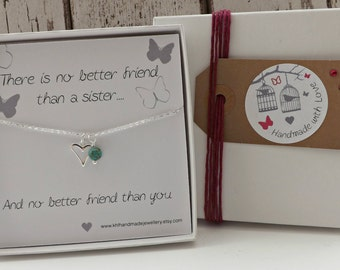 Gift for Sister, Sister Birthday Gift, Sister Jewelry, Sister Necklace, Sister Quote, Gift for Her, Christmas Gift Sister, Unique Keepsake