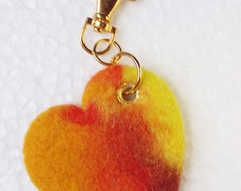 Wool Needle Felted Keychain Bag Charm with Colorful Orange Green Leaf Heart Key Ring Christmas Valentines Mother's Day  Present Gift