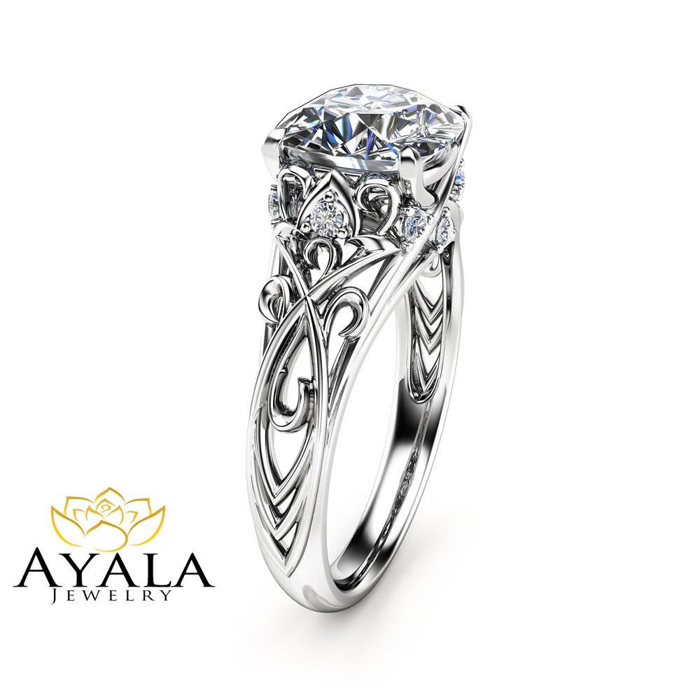 Cushion Moissanite Engagement Ring 14k White Gold Cushion Ring