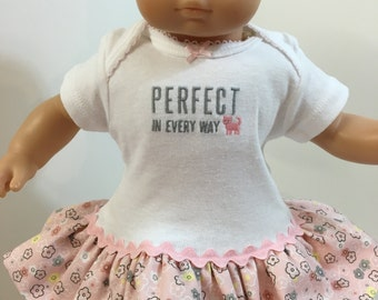 "15 inch Bitty Baby Clothes, Pink ""KITTY CAT"" Perfect In Every Way"" Ruffle & Trim Dress, 15 inch American Doll Bitty Baby, Fits 16 inch CPK"