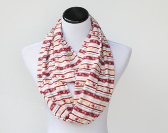 Christmas infinity scarf scandinavian stripes snowflakes soft cotton jersey knit snood scarf - Christmas loop scarf - gift idea for her