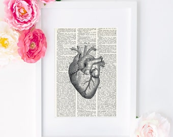HUMAN HEART Dictionary Art Print, Medical Anatomy Heart Diagram Print, upcycled vintage dictionary paper, Wall art, Original Decor, #057