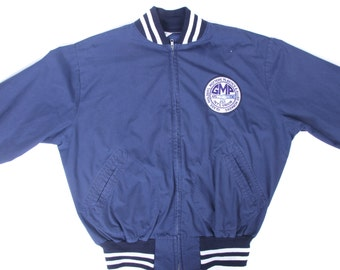 Vintage Men's Athletic Jacket / 1980s Men's Large Jacket / Blue Cotton/Polyester Coat / Blue Athletic Jacket /