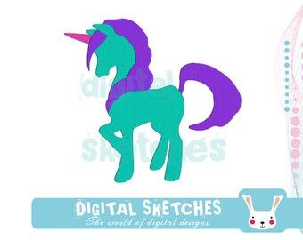 Unicorn Machine Embroidery Design 4 Sizes