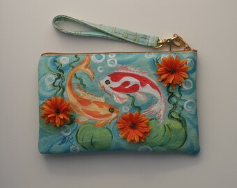 Painted Blue Fish Clutch with Wristlet